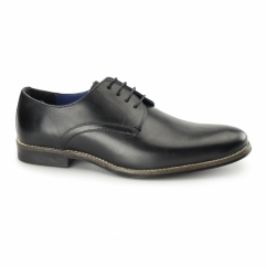 SHANNON Mens Leather Derby Shoes Black