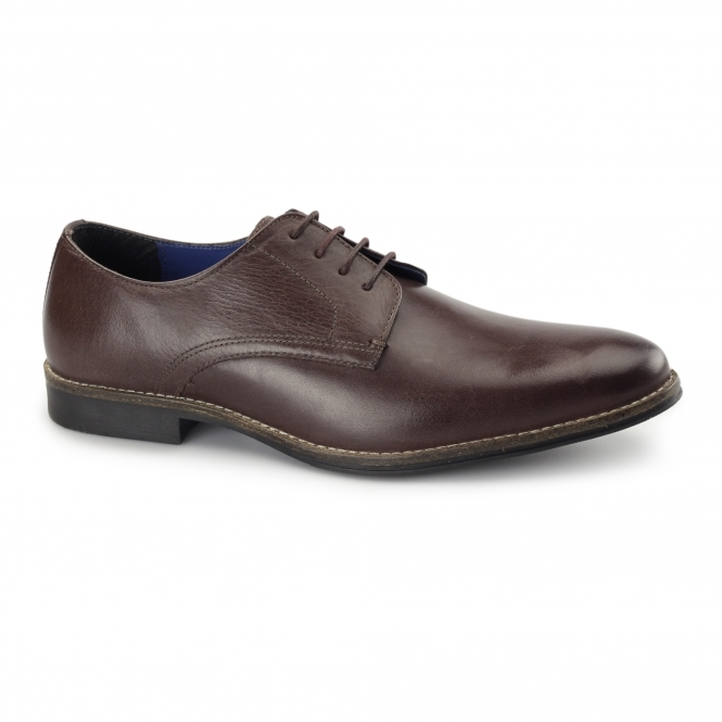 Red Tape SHANNON Mens Leather Derby Shoes Bordo