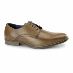 SHANNON Mens Leather Derby Shoes Tan