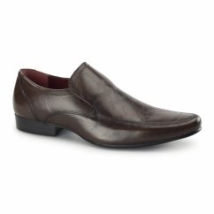 SHERSTON Mens Leather Slip-On Shoes Brown