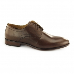SILWOOD Mens Leather Smart Derby Shoes Brown