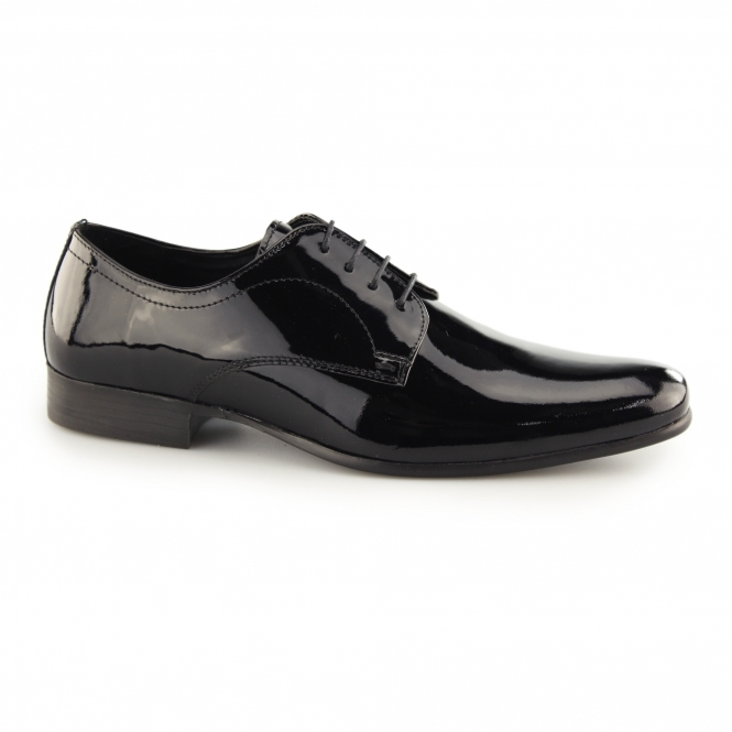 Red Tape SOUTHILL Mens Patent Leather Derby Shoes Black
