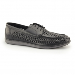 SPINNEY Mens Leather Weave Lace Up Loafers Black