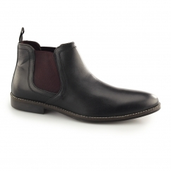 STOCKWOOD Mens Leather Chelsea Boots Black/Bordo