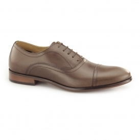 STOWE Mens Leather Toe Cap Oxford Shoes Brown