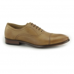 STOWE Mens Leather Toe Cap Oxford Shoes Tan