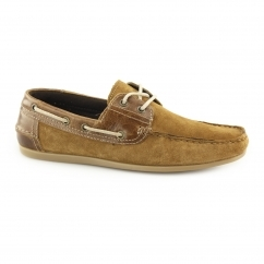 STRATTON Mens Suede Leather Lace Boat Shoes Tan