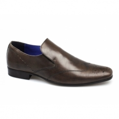 TALLA Mens Leather Brogue Slip-On Shoes Brown
