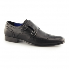 TEMPO Mens Double Monk Brogue Shoes Black