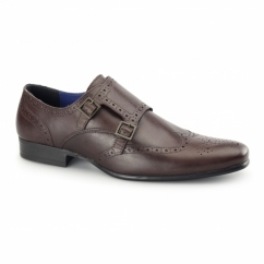 TEMPO Mens Double Monk Brogue Shoes Bordo