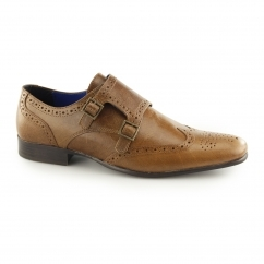 TEMPO Mens Double Monk Brogue Shoes Tan