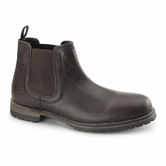TURVEY Mens Leather Rugged Chelsea Boot Brown