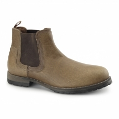 TURVEY Mens Leather Rugged Chelsea Boot Tan