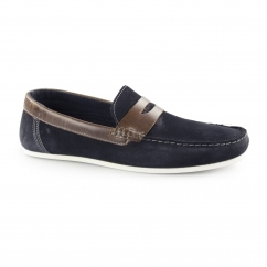 WARDON Mens Suede Leather Slip On Penny Loafers Navy