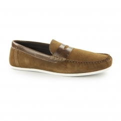 WARDON Mens Suede Leather Slip On Penny Loafers Tan