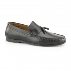 WOODCROFT Mens Leather Penny Tassel Loafers Black