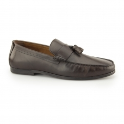 WOODCROFT Mens Leather Penny Tassel Loafers Dark Brown