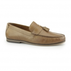 WOODCROFT Mens Leather Penny Tassel Loafers Tan