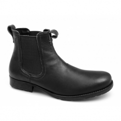 REDLAKE Mens Weathered Leather Chelsea Boots Black