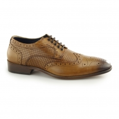 REDMOND Mens Leather Wingtip Derby Brogues Tan