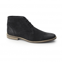 REECE Mens Oily Leather Chukka Boots Black