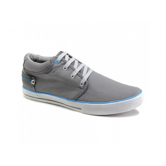 Front REEF Mens Canvas Lace-Up Deck Shoes Grey