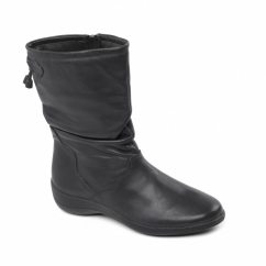REGAN Ladies Leather Wide Fit Zip Calf Boots Black