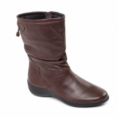 REGAN Ladies Leather Wide Fit Zip Calf Boots Brown