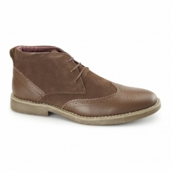 REGGIE Mens Suede Leather Brogue Chukka Boots Tan