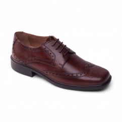 REID Mens Leather Wide Oxford Brogue Shoes Brown