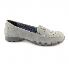 Skechers RELAXED FIT: BIKERS EXPRESSWAY Ladies Suede Loafers Charcoal