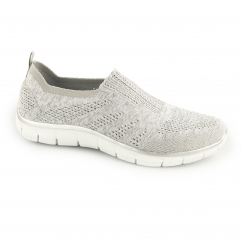 Skechers RELAXED FIT: EMPIRE-ROUND UP Ladies Slip On Trainers Grey/Silver