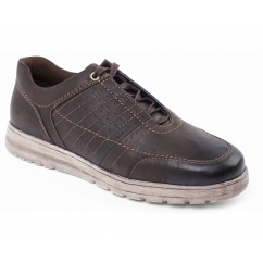 RELAY Mens Leather Extra/Wide Fit Lace Up Trainers Brown