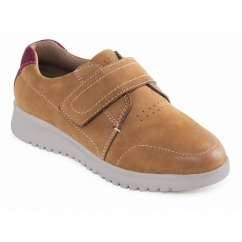 RELEASE Ladies Leather Velcro Wide Fit Shoes Tan