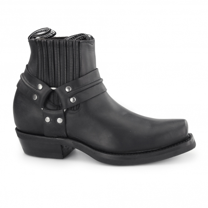 Grinders RENEGADE LO Unisex Leather Harness Biker Boots Black