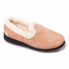 REPOSE Ladies Microsuede Extra Wide (EE) Fitting Full Slippers Camel