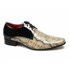 RETELINO Mens Faux Snakeskin Patent Shoes Black/Beige