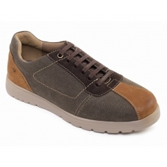 REWIND Mens Leather Canvas Lace Up Trainer Shoes Brown