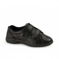 REX Womens Twin Velcro Extra Wide Leather Shoes (EEE Fit) Black