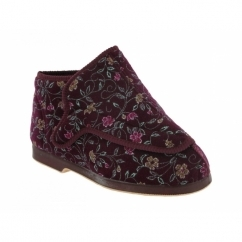 RHONA Ladies Extra Wide (5E) Fitting Floral Velcro Slippers Wine