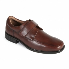 RICHARD Mens Leather Wide Touch Close Shoes Brown