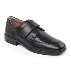 RICHARD Mens Leather Wide Touch Close Shoes Polished Black