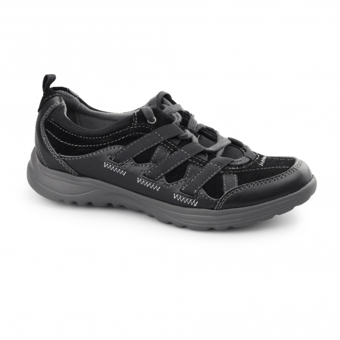 Earth Spirit RICO Ladies Lace Up Suede Walking Trainers Black