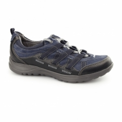 RICO Ladies Lace Up Suede Walking Trainers Navy