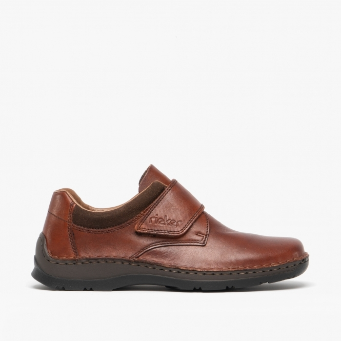 buying now buy online beauty 05359-24 Mens Leather Touch Fasten Shoes Brown