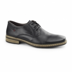 10822-01 Mens Leather Lace Up Derby Shoes Black