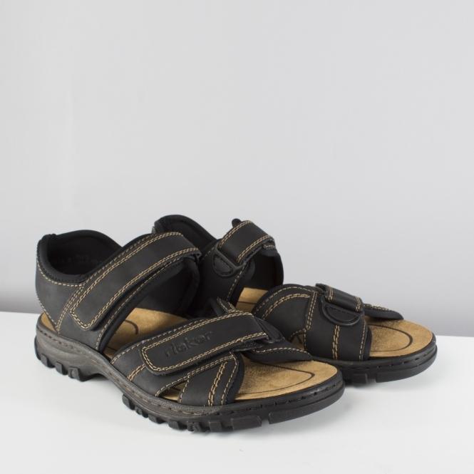 Rieker 25051-01 Mens Wide Black Strap Sandals