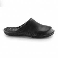 Rieker 26596 Mens Leather Slip-On Mule Sandals Black