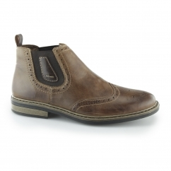 Rieker 37681-25 Mens Leather Warm Brogue Chelsea Boots Brown