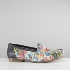 Rieker 40089-91 Ladies Slip On Flat Loafer Shoes Floral Multi